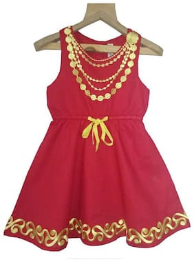 Sleeveless Embroidery Dress;Red;2-3Y