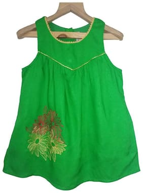 Sleeveless Yoke Embroidery Dress;Green;3-4Y