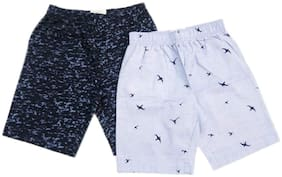 SLIDES & SWINGS Boy's Printed Cotton Shorts White and Blue