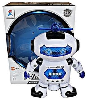 Smart Dancing And Walking Robot with 360 Degree Rotation and Music, 3 D Lights for Kids.  (White)