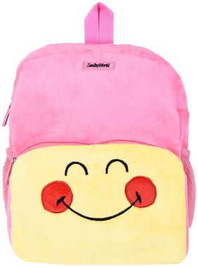 Smiley World Happy Face Expression Soft Toy School Bag 14 inch  Baby Pink  by Ultra