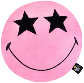 Smiley World Star Eyes Expression Round Cushion 16 inch Pink by Ultra