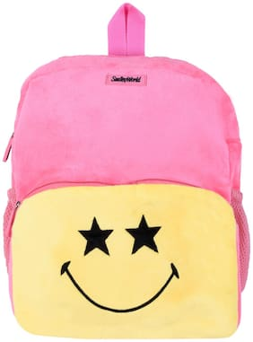 SmileyWorld Star Eyes Expression Soft Toy School Bag 14 inch Baby Pink by Ultra