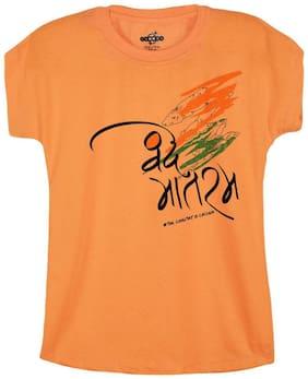 Snoby Girls VANDE MATARAM SLOGAN  Round Neck Orange Casual Printed Shirt