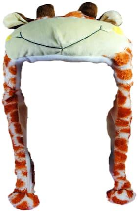 Soft Faux Fur Plush Stuffed Cute Giraffe Animal Costume Cap with Toy Hood for Boys and Girls (Orange;Free Size)