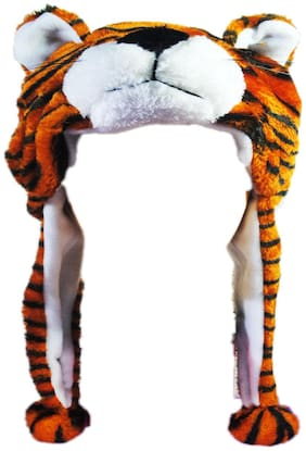 Soft Faux Fur Plush Stuffed Cute Tiger Animal Costume Cap with Toy Hood for Boys and Girls (Brown;Free Size)