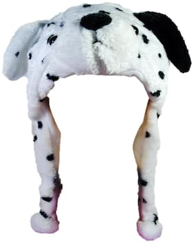 Soft Faux Fur Plush Stuffed Cute Dog Animal Costume Cap with Toy Hood for Boys and Girls (White;Free Size)