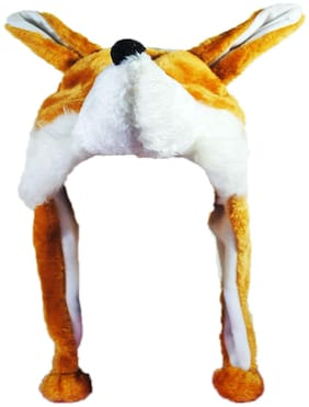 Soft Faux Fur Plush Stuffed Cute Wolf Animal Costume Cap with Toy Hood for Boys and Girls (Beige;Free Size)