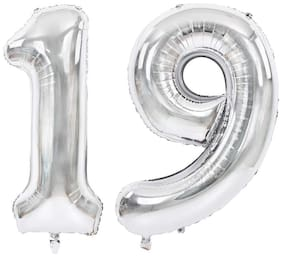 JMO27Deals Solid 19 Number Silver foil Balloon for Birthday Party Decoration/Anniversary/Birthday Decoration Letter Balloon (Silver, Pack of 2)