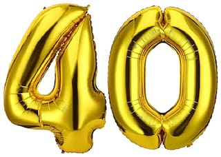 Solid 40 Number Golden foil Balloon for Birthday Party Decoration/Anniversary/Birthday Decoration Letter Balloon  (Gold, Pack of 2)