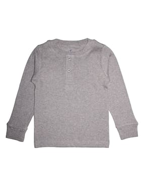 KiddoPanti Boy Cotton Solid T-shirt - Grey