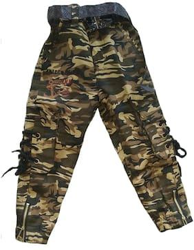 Sonpra Kids Boys Premium Quality Elastic Waist Army Printed Jeans with Belt