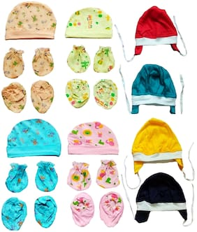 Sonpra New Born Baby Premium Quality Multicolor Cotton Caps Booties Mittens Combo set (0 -3 Months)
