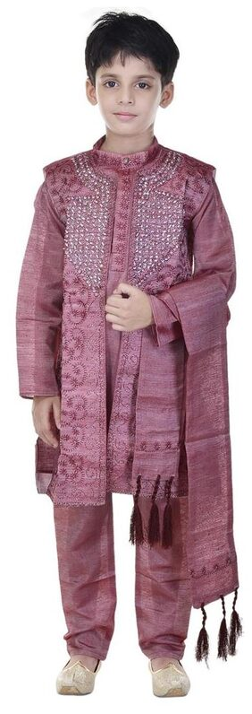 Soundarya Silk Cotton Blend Magenta Embellished Sherwani and Churidar Set For Boys