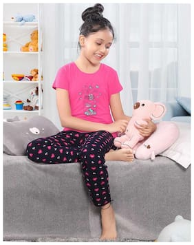 South India SHOPPING MALL Girl's Cotton blend Printed Top & pyjama set - Pink