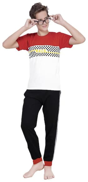 South India SHOPPING MALL  Boy Cotton Blend Top & Pyjama Set (Red)