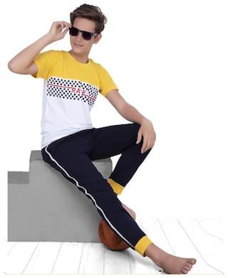 South India SHOPPING MALL  Boy Cotton Blend Top & Pyjama Set (Yellow)