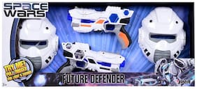 Space Wars Series: Planet Of Toys Space Weapon Set 2 Guns 24cms 2 Masks 23cms Combo (led Lights And Sounds)