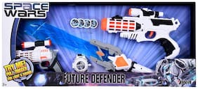 Space Wars Series: Planet Of Toys Space Weapon Set 1 Gun (28cms);1 Gun (19cms);1 Laser Sword (60cms);Dart Blaster With 4 Darts