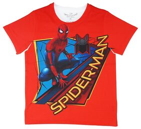 Spider-Man Boy Polyester Printed T-shirt - Red