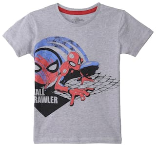 27c99cee Buy Spiderman Boy Poly Cotton Printed T-shirt - Grey Online at Low ...