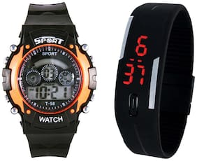 SPORT Combo of Orange And Black Led Digital Watch For Kids_SHOPPING SHOP