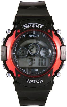 Sports New Black Sports 7 Lights Digital Watch