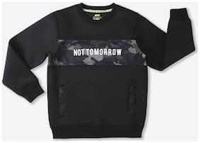 Spunk Boy Cotton Printed Sweatshirt - Black