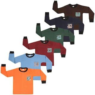 S R FASHIONER Boy Cotton Printed T-shirt - Multi