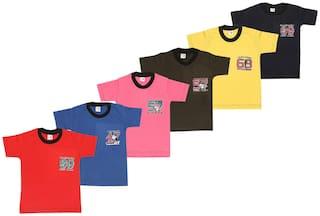 S R FASHIONER Boy Cotton Solid T-shirt - Multi