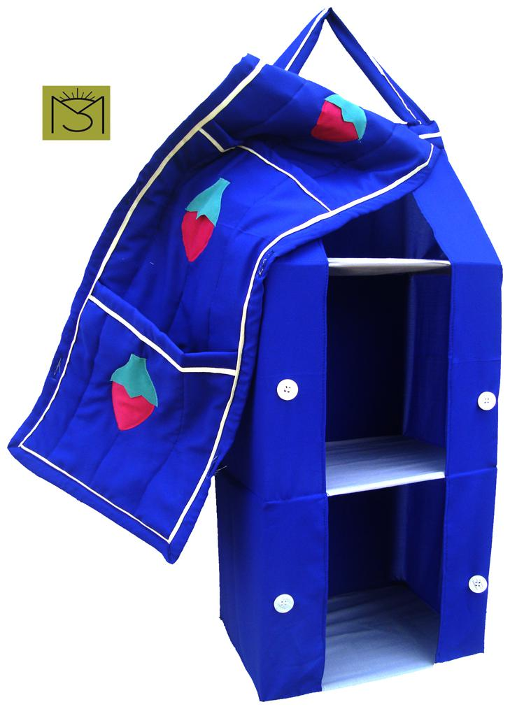SRIM Hanging Foldable Baby Almirah for kids   Blue   Collapsible Wardrobe 95 x 35x 25 cm Made of Fabric Cloth Organiser   SMC0075 by SRIM Kids