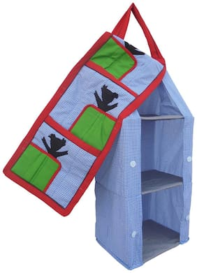 SRIM  Hanging Foldable Baby Almirah - Blue Check - Collapsible Wardrobe 95 x 35x 25 cm Made of Fabric Cloth Organiser SMC0091