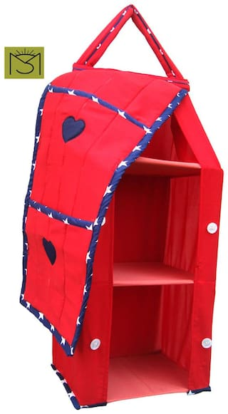 SRIM Hanging Foldable Baby Almirah for Kids - Red with Star - Collapsible Wardrobe 95 x 35x 25 cm Made of Fabric Cloth Organiser - SMC0076