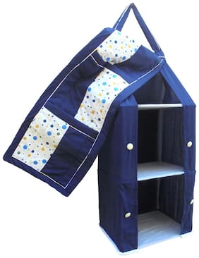 SRIM  Hanging Foldable Baby Almirah for kids - Navy Blue with Polka Dot - Collapsible Wardrobe 95 x 35x 25 cm Made of Fabric Cloth Organiser - SMC0089