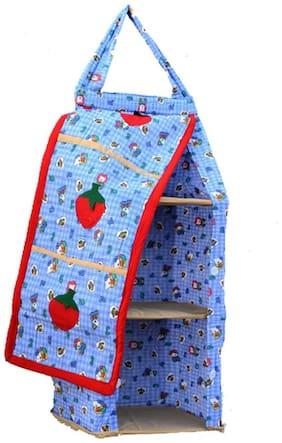 SRIMTM Hanging Foldable Baby Almirah for kids - Blue with ABC123 - Collapsible Wardrobe 95 x 35x 25 cm Made of Fabric Cloth Organiser - SMC0009