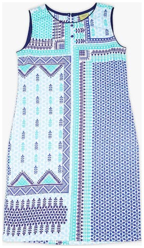 Srishti Girl's Cotton Solid Sleeveless Kurta & kurti - Blue