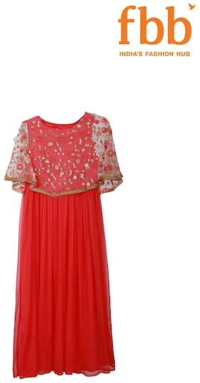 Srishti Girl's Blended Printed Short sleeves Gown - Red
