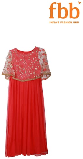 Srishti Printed Girls Pink Cape Gown