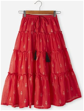 Srishti Girl Cotton Printed Tiered skirt - Red