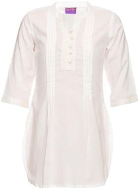 Srishti Girl's Cotton Solid 3/4th sleeves Kurta & kurti - White