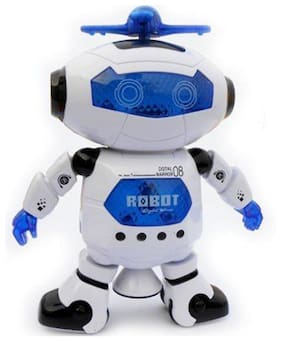 SS TRADERS - White Naugty Dancing Robot LED Light and Music Toy 22 cm