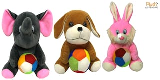 Sterling Plush By Sterling Soft Toys Combo set Dog;Rabbit & Elephant with Ball - Gift Set