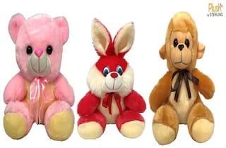 Sterling Plush By Sterling Soft Toys Combo set Teddy Bear;Rabbit & Monkey- Gift Set