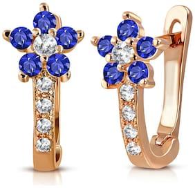 Sterling Silver Rose Gold-Tone Blue CZ Girls Huggie Flower Floral Earrings
