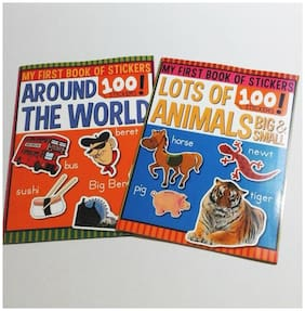 STICKER BOOKS World Travel + Animals 2 Book Lot DECAL PLACING Stickers LEARNING