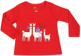 Strawberry Cotton Printed T shirt for Baby Girl - Red