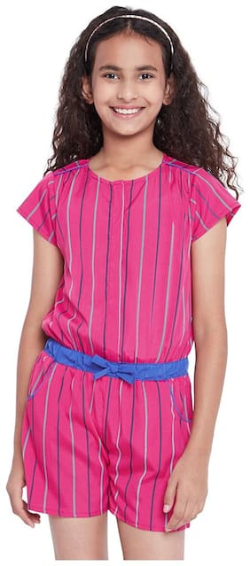 OXOLLOXO Polyester Printed Romper For Girl - Pink
