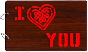 "Studio Shubham  ""I Love you""wooden brown photo album(26cmx16cmx4cm)"