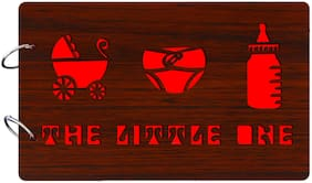 "Studio Shubham  ""The little one""wooden brown photo album(26cmx16cmx4cm)"