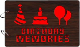 "Studio Shubham  ""Birthday Memories""wooden brown photo album(26cmx16cmx4cm)"